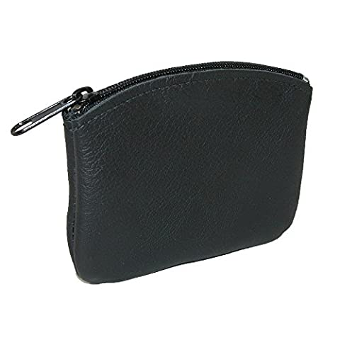 CTM Leather Credit Card Pouch and Coin Holder, Black