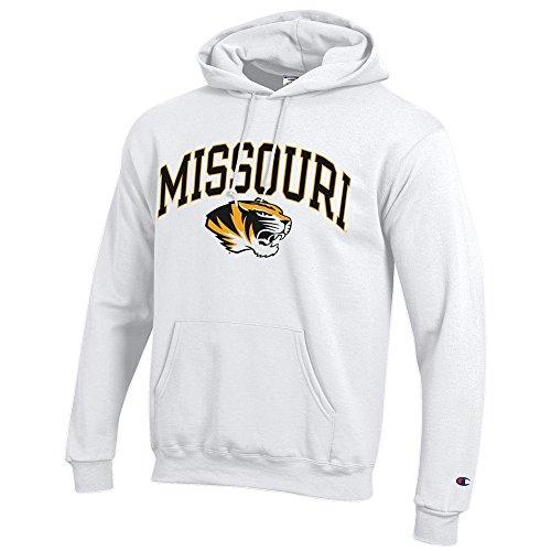 Elite Fan Shop Missouri Tigers Hooded Sweatshirt Varsity White - L Tiger Athletic Sweatshirt