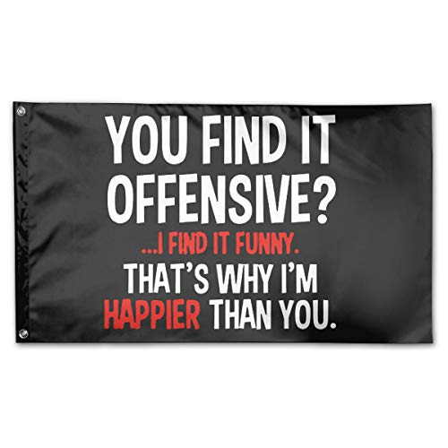- Riyuekong 3x5 Foot You Find It Offensive Flag - 100% Single Layer of Translucent Polyester/Brass Grommets - Bright Pattern