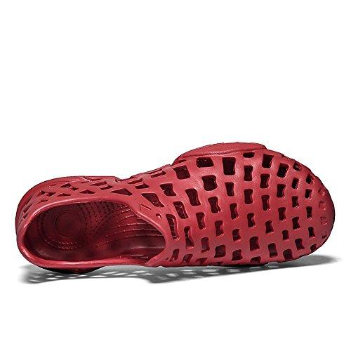 Vamp da donna Dimensione tacchi Sandali uomo da 41 Shoes Jiuyue piatto Scarpe Beach da Hollow Nero EU On Slip e tacco Color uomo shoes Rosso con nFWIIBU6