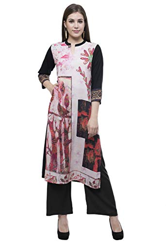 Lagi Designer Rayon Straight Kurti for Women Printed Tunic Top Mandarin Collar ¾ th Sleeve Dress