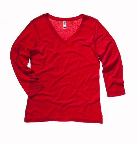 - Bella+Canvas Women's Sports 3/4-Sleeve V-Neck T-Shirt, X-Large, Red