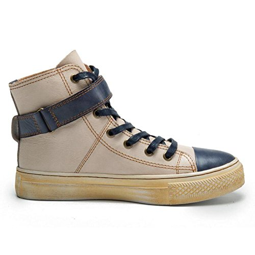 Velcro Leather Women's Genuine BEIGE Boots Autumn Winter Handmade Short Fashion NSXZ 37 xAwRq00