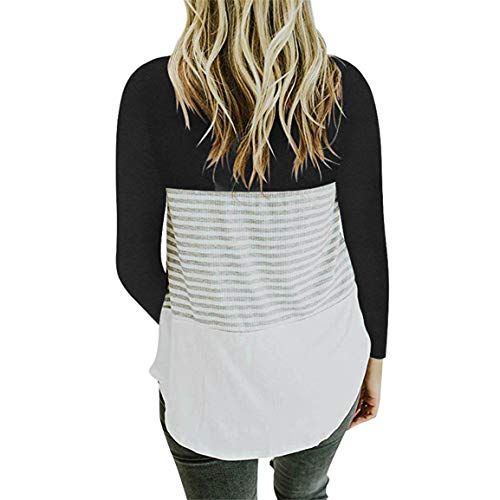 Stripe Neck Manches Blouse O Shirt Tops Dames Blouse Femmes Longues Triple Stripe Patchwork Automne Loose Noir T Color Casual Block Bellelove O7wPxgn