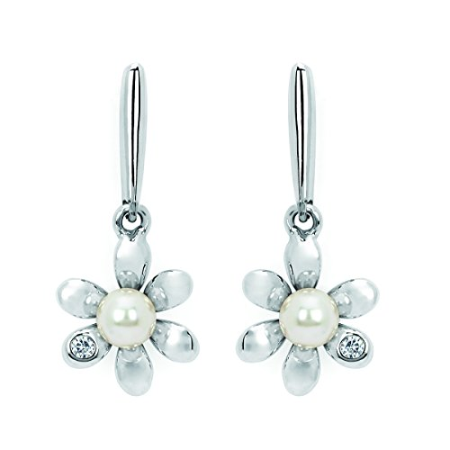 Little Diva Diamonds 925 Sterling Silver .02 Ctw. Diamond Accent & Pearl Flower Drop Earrings for Girls - Pearl Diamond Accent
