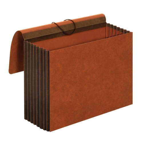 Globe-Weis/Pendaflex Heavy Duty File Wallets, Extra Wide, 7-Inch Expansion, Elastic Cord Closure, Letter Size, Brown, 5-Count -