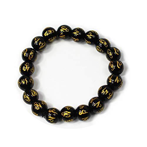 Fengshui Hand Carved Sanskrit Mantra Beads Bracelet Symbol of Wealth Health Lucky(Black S)