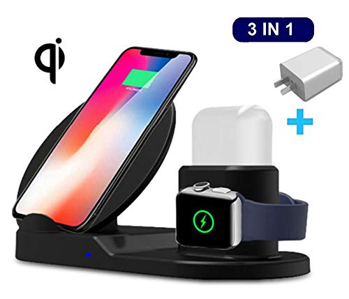 MQOUNY Wireless Charger, Upgrade 3 in 1 Wireless Charging Stand for Apple Watch,Charging Station for Airpods,Fast Wireless Charger Dock for All QI Phone with Charger Adapter (Black)