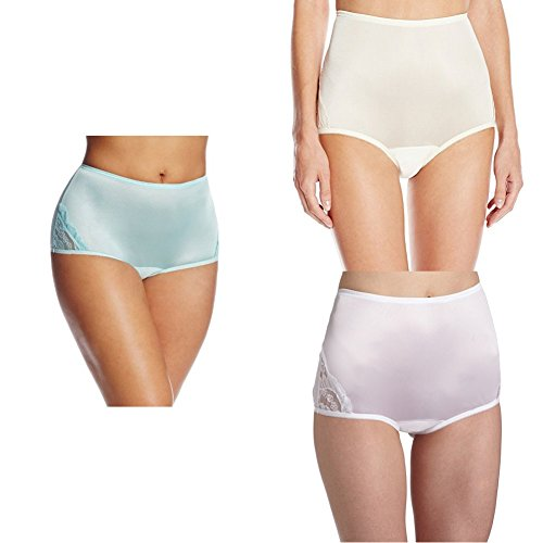 (Vanity Fair Women's Perfectly Yours Lace Nouveau Brief Panty 13001, Azure Mist/Candleglow/Star White, 3X-Large/10)