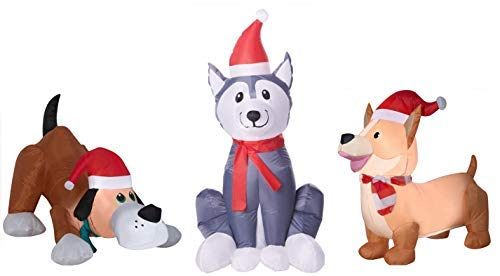 - Puppy Dog Christmas Inflatables. 3 Dog Decorations with LED Lights. Each Inflatable Pup Decorated with Santa Hats and Holiday Scarfs Perfect for Christmas Blow Up Yard Decorations
