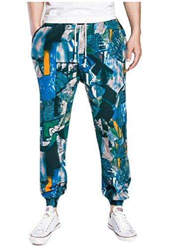 Hot SportsX Men's Fashion Wide Drawstring Irregular Printed Harem Pants for sale
