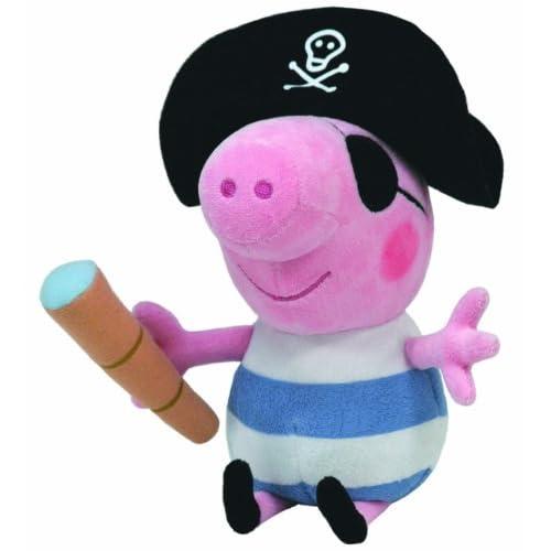 Ty 7196258–Peppa Large–George Pirate, cochon avec chapeau Pirates, Cache-œil et Lunette de visée, 25cm