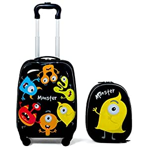 2PCS Kids Luggage Set Carry On with Spinner Wheels & Cute Little Monster Pattern, Adjustable Trolley Rod Height & Backpack Shoulder Strap, Kids Luggage Set Made of ABS, Polycarbonate & Nylon Material