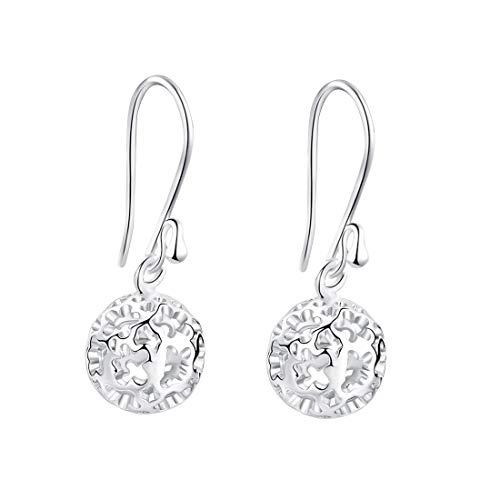 (SA SILVERAGE Sterling Silver Dangle Earrings Hollow Filigree Ball Earrings Round Drop Earrings Women's Fashion Jewelry )