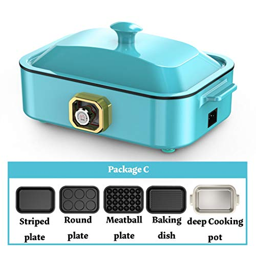 Electric baking pan Grill Household Cooking 2-5 Interchangeable Skillets for Grilling, Baking Or Dessert Making- Takoyaki, Sandwiches and Much More (Color : 3, Size : C)