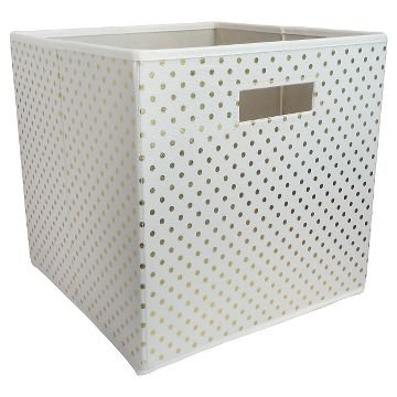 Pillowfort White Fabric Storage Box With Gold Dots