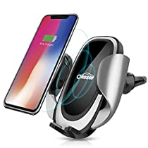 Wireless Car Charger Oasser Air Vent Phone Holder Car Mount Fast Charge with Adjustable Coil 10W Charger for Samsung Galaxy S8/S7/S7 Edge, Note 8/5 and Standard Charge for iPhone X/8/8 Plus & Qi Enabled Device