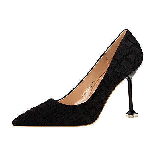 Pointed Autumn Single Yukun Temperament Black Shoes Stiletto Black Fashion heels High Female Shoes Crack Heels Lattice SqSwrtEx