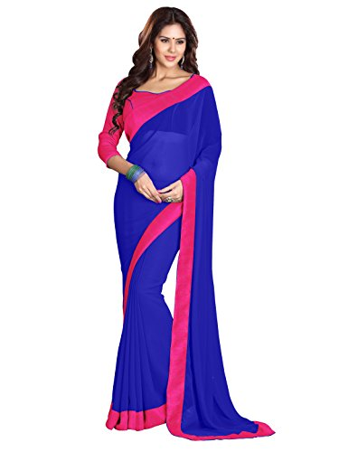 (Sourbh Women's Georgette Plain Indian Saree with Lace Border (6021_Royal Blue, Pink))
