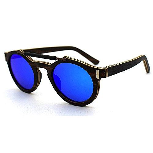 protección Lentes Sol polarizadas Gafas Hechas de Azul a Madera de de Azul Mano Unisex Colores Unisex Azul Aclth UV400 nOzxn