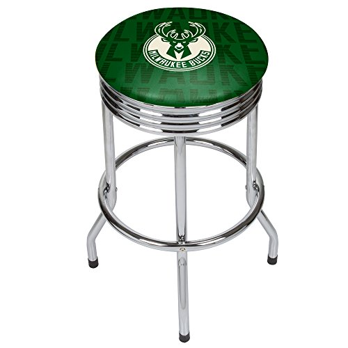 Trademark Gameroom NBA1005-MB3 NBA Chrome Ribbed bar Stool - City - Milwaulkee Bucks by Trademark Global