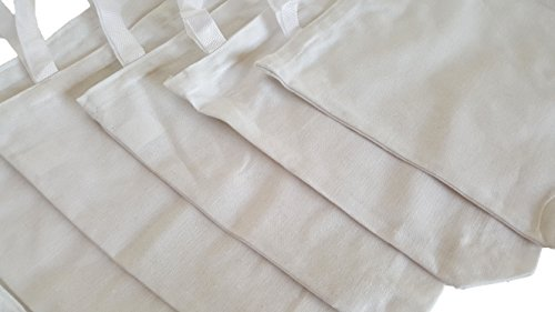White Cotton Tote Bags, Party Goody Bags, To Go Bags. (12) by Dondor (Image #5)