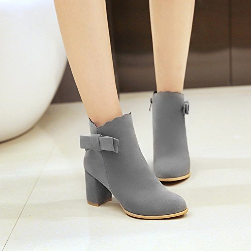 Easemax Womens Trendy Glassed Bows Round Toe Mid Chunky Tacco Laterale Con Cerniera Ankle Boots Grigio