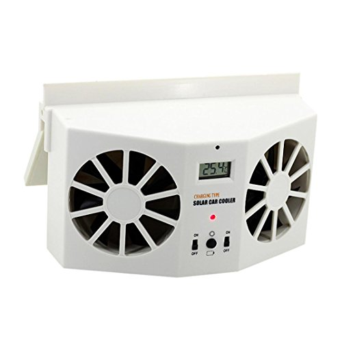 Iusun Solar Powered Car Window Air Vent Ventilator Mini Air Conditioner Cool Fan (White)