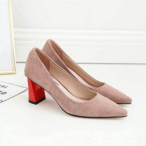 in alto scamosciata pelle scarpe da a 37 Xue da tacco a a Qiqi donna donna abbinata con abbottonatura Scarpette ruvide albicocca Scarpe punta wxZqxOX6F