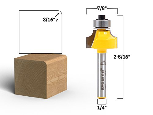 Yonico 13962q 3/16-Inch Radius Round Over Edge Forming Router Bit 1/4-Inch Shank (Flattening A Table Top With A Router)
