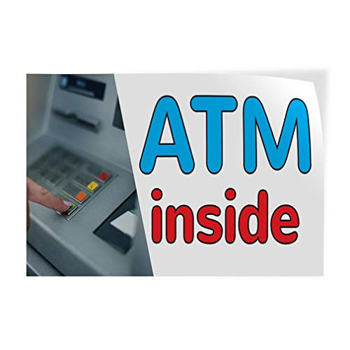 ATM Inside Vinyl Decal Sticke Store Sign 14.5 x 36 inches