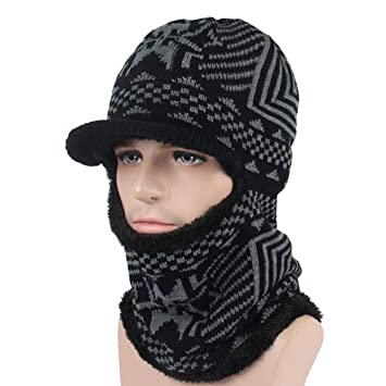 HOKUGA Winter Hat Men Women Knitted Hat Scarf Skullies Beanies Winter  Beanies For Men Caps Mask dc3932f1da7