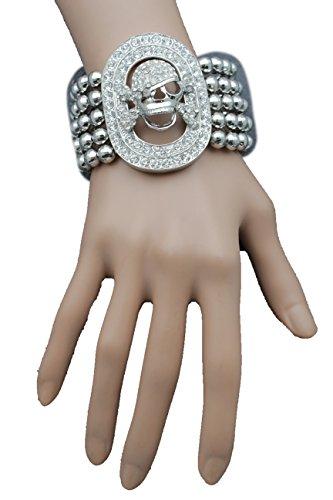 Pirate Booty Costume Party City (TFJ Women Fashion Jewelry Wrist Stretch Bracelet Silver Rhinestones Skeleton Skull Pirate Jewelry)