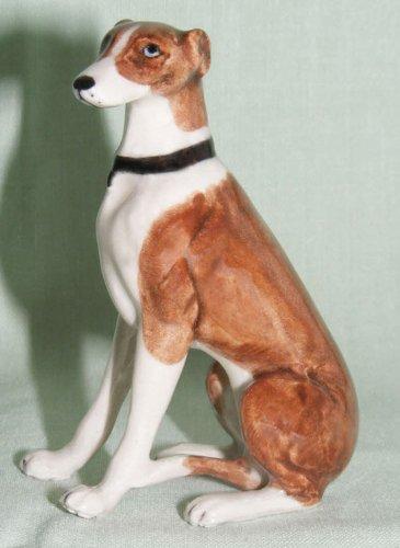 GREYHOUND Dog Brown Sits Figurine MINIATURE New Porcelain KLIMA K846E Greyhound Dog Figurine
