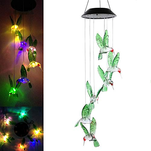 LED Solar Hummingbird Wind Chime Light,Outdoor Waterproof Multi-Color Solar Powered Mobile Wind Spinner String Light for Home Party Night Garden Decoration (Lights Solar Hummingbird String)