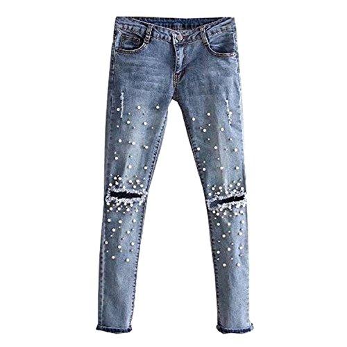 28 a 30 Pantaloni strappati dritti Donna Jeans Donne 26 matita Perla Blu Jeans vita bassa Rivetto 29 elasticizzati Jeans Pantaloni Pantaloni 27 a Jeans wx0SqYg1g