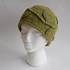 Hand made Retro Olive Green Felted Wool Leaf and Vine Applique Winter Beanie...   24.00. Handmade ... bd7bd6160460