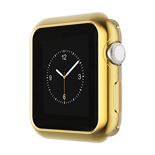 Coobes Compatible with Apple Watch Case Series 4 44mm 40mm, Ultra-Thin TPU Plating Bumper Shiny Lightweight Shockproof Protector Cover Slim Shell Frame Compatible iWatch (Gold, 44mm)