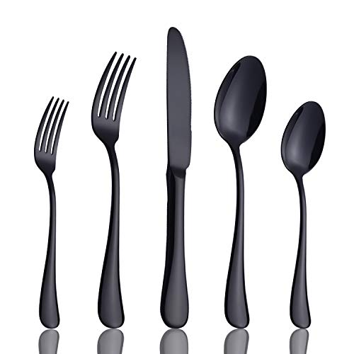Black Silverware Set, 20 Piece Stainless Steel Flatware, Heavy Weight Cutlery Eating Utensils, Forks Knives Spoons Service for 4, Mirror Finish Dishwasher - 45 Piece Matte Set