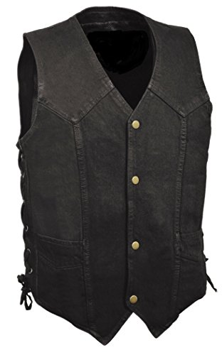 Men's Western Style Look Denim Vest w/ Side Lacing (Black or Blue Versions) (Large, Black)