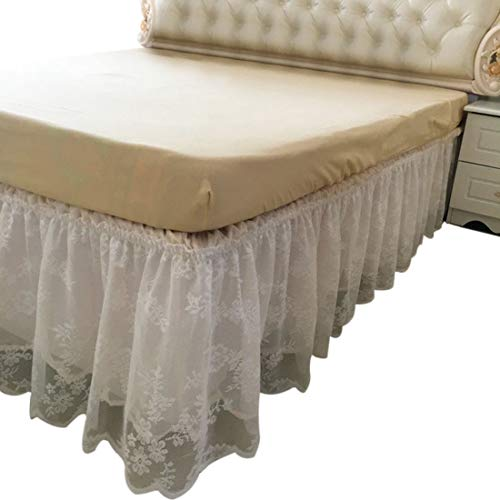 (FREAHAP R Wrap-Around Lace Bed Skirt Dust Cover Ruffle Bed Sheet Case 14.96