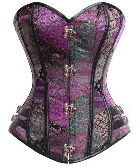 Charmian Women's Steampunk Gothic Brocade Steel Boned Bustier Corset with Buckle 4