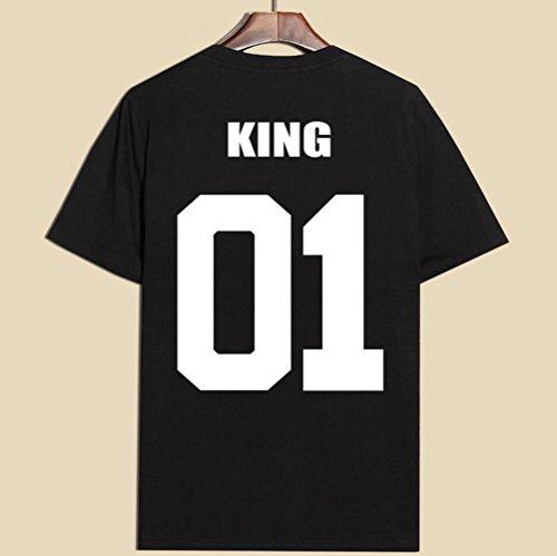 JWBBU King Queen T-Shirt Set für Paar König Königin t-Shirt Hochzeitstagsgeschenk Geburtstagsgeschenk 2 Stücke