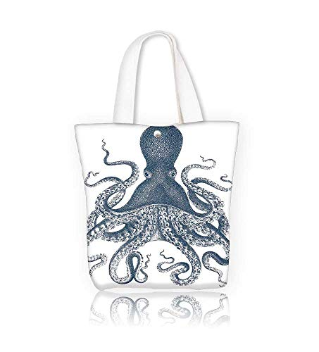(Reusable Cotton Canvas Zipper bag doodle octopus isolated on the white Tote Laptop Beach Handbags W23xH14xD7 INCH)