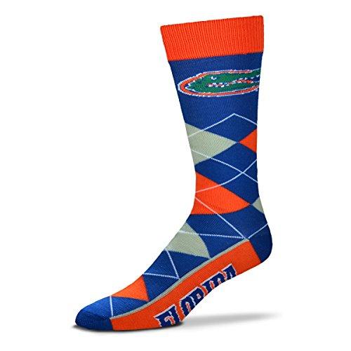 Florida Gators Plush Football - For Bare Feet NCAA Argyle Lineup Socks-Florida Gators-One Size Fits Most