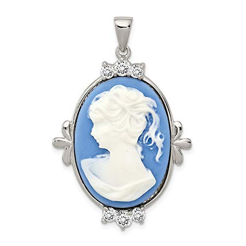 Sterling Pin Cameo Silver - 925 Sterling Silver Cubic Zirconia Cz Plastic Cameo Pendant Charm Necklace Fine Jewelry Gifts For Women For Her
