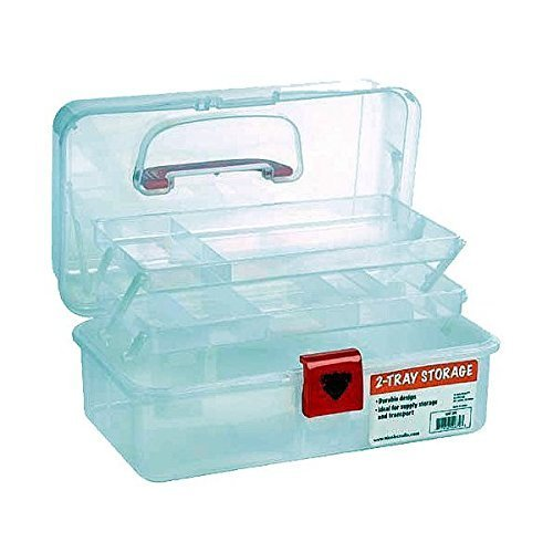 Artist Essential 12-inch Plastic Art Supply Craft Storage Tool Box, Semi-clear Plastic with Two Trays
