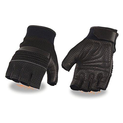 - Men's Leather & Mesh Fingerless Glove w/ Gel Palm, Reflective Piping (Medium)