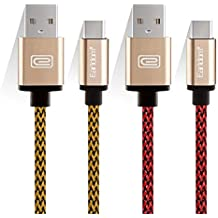 """JULAM USB Type C Cable Compatible Allview Soul X5 Pro 6.2"""" and More, 6.6ft USB A to C Charger (2-Pack) Nylon Braided Fast Charging Cord (Golden+Red)"""