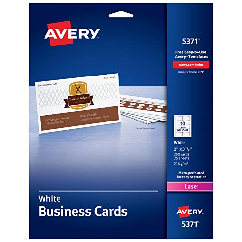 - Avery Printable Business Cards, Laser Printers, 250 Cards, 2 x 3.5 (5371)